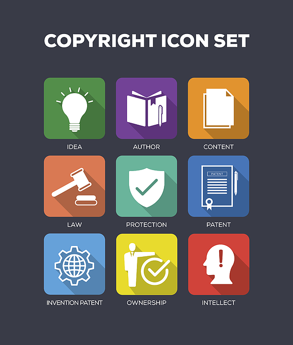 Copyright Concept Flat Icons Set Drawing by Cnythzl