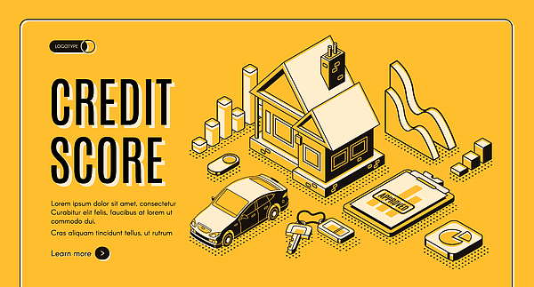 Credit score service isometric vector website Drawing by Best Content Production Group