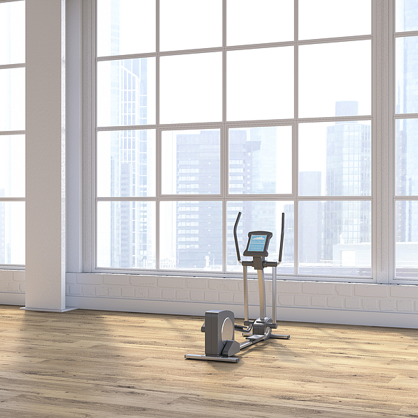 Crosstrainer in a loft with view to skyline, D Rendering Drawing by Westend61