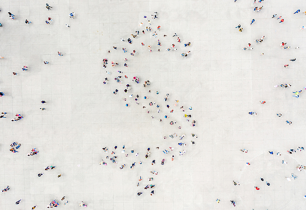 Crowd forming a Dollar Shape Photograph by  Orbon Alija