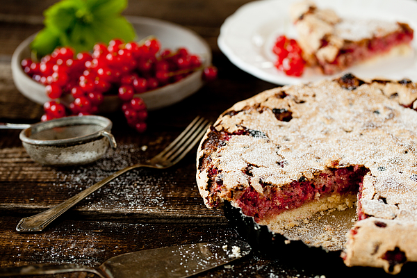 Currant cake on wooden ground Photograph by Carolafink