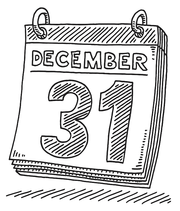 Daily Calendar December 31 Drawing Drawing by FrankRamspott