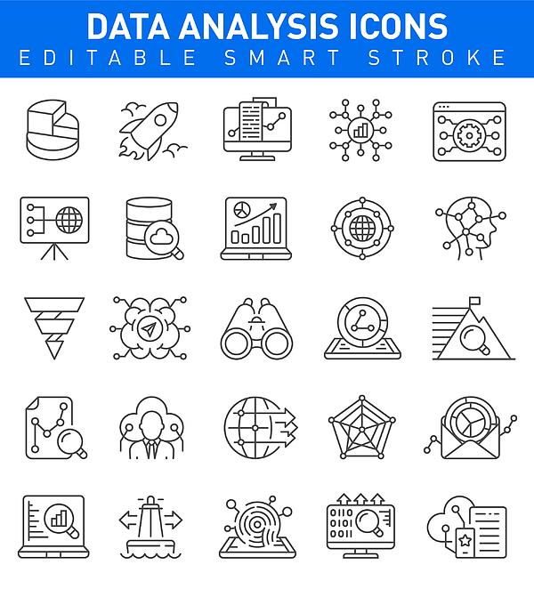 Data Analysis Icons. Editable stroke Drawing by Bergserg