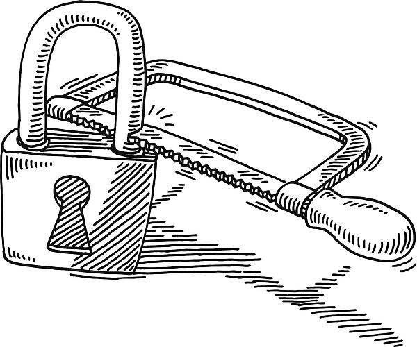 Data Decryption Hacking Padlock Saw Drawing Drawing by FrankRamspott