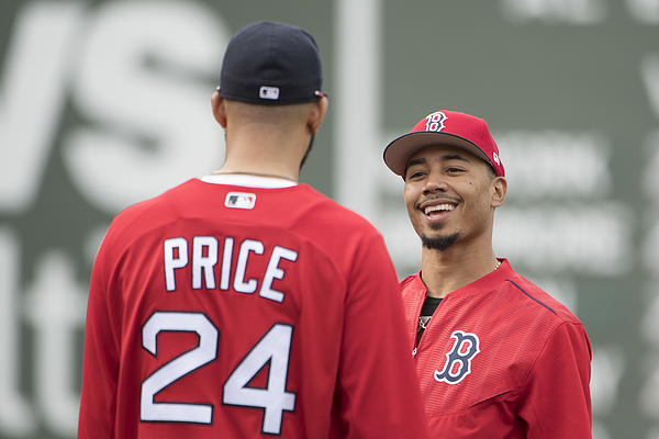 David Price and Mookie Betts Photograph by Billie Weiss/Boston Red Sox