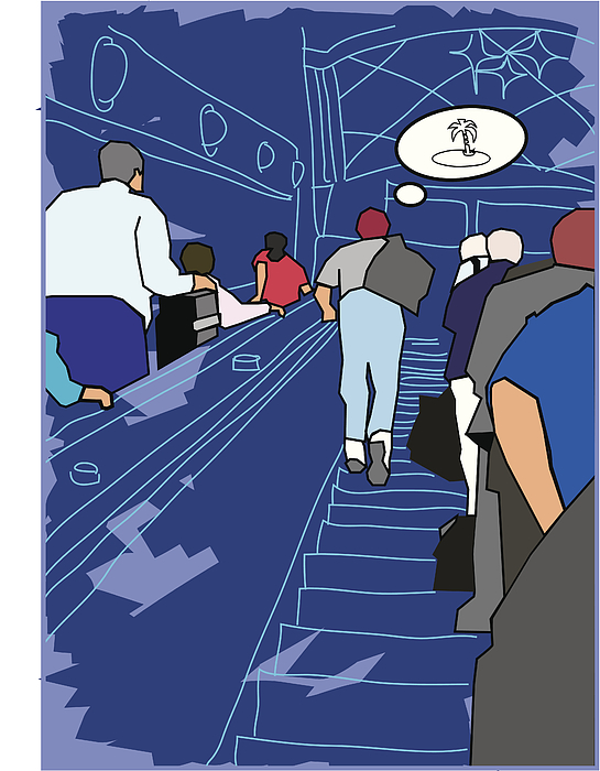 Daydreaming On The Escalator Drawing by Imagezoo