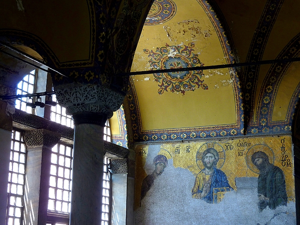 Deësis mosaic (Christ with the Virgin Mary and John the Baptist), Hagia Sophia, Istanbul Photograph by Frans Sellies