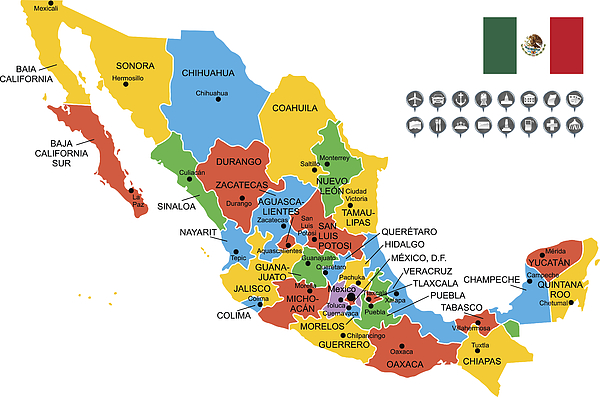Detailed Vector Map of Mexico Drawing by Poligrafistka