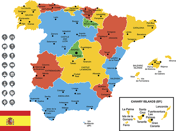 Detailed Vector Map of Spain Drawing by Poligrafistka