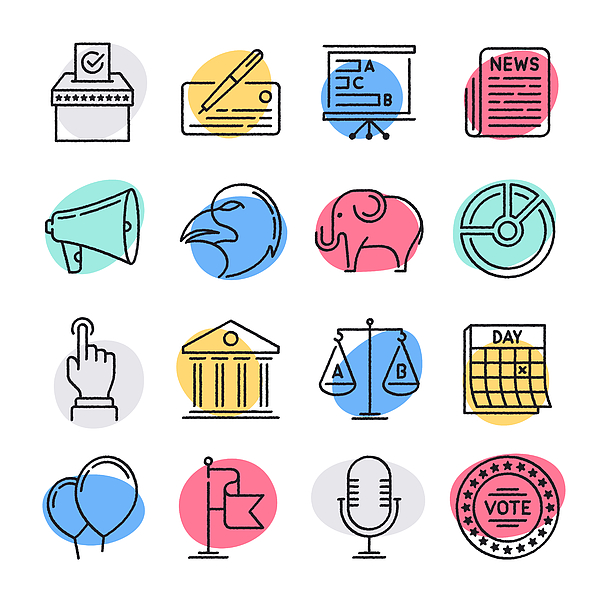 Development & Democracy Doodle Style Vector Icon Set Drawing by Denkcreative