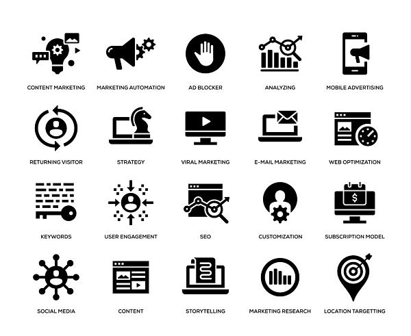 Digital Marketing Icon Set Drawing by Enis Aksoy
