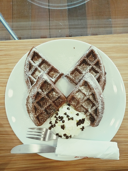 Directly Above View Of Ice Cream With Waffles In Plate On Table Photograph by Vachiraphan Phangphan / EyeEm