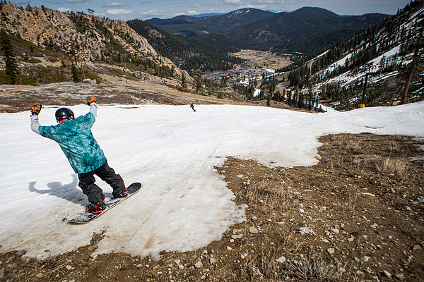 Dismal Snowpack In Sierra Mtns. Worsens States Four-Year Drought, And Takes Toll On Tahoe-Area Ski Industry Photograph by Max Whittaker