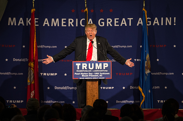 Donald Trump Holds Pearl Harbor Day Rally At USS Yorktown Photograph by Sean Rayford