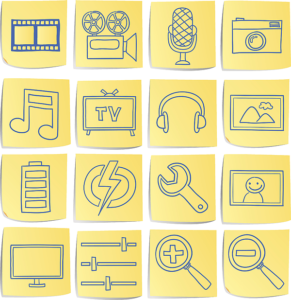 Doodle memo icon set - Multi media Drawing by LokFung