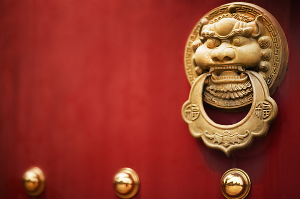 Door handle on Red Temple Door Photograph by Shannon Fagan