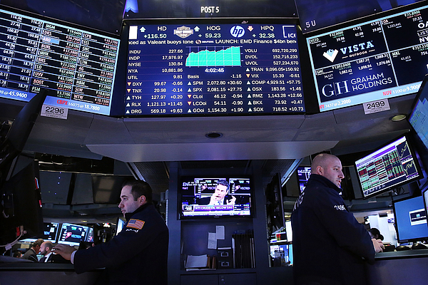 Dow Soars Over 200 Points After 3 Weeks Of Declines Photograph by Spencer Platt