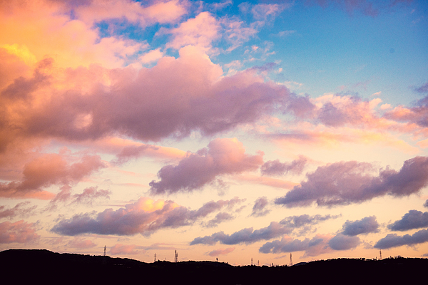 Early morning sky at Okinawa with mountain and electric tower Photograph by Photo taken by Kami (Kuo, Jia-Wei)