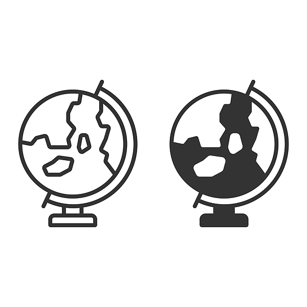 Earth Globe Icon Vector Design on White Background. Drawing by Designer29