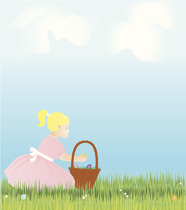 Easter Holiday Scene With Girl, Basket And Eggs Drawing by SongSpeckels