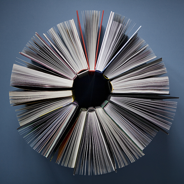 Elevated view of books in a circle Photograph by David Malan