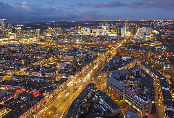 Elevated view of skyline of the Hague at dusk Photograph by Allan Baxter