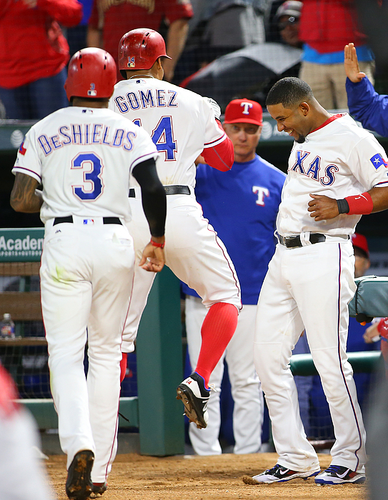 Elvis Andrus, Jeff Banister, And Carlos Gomez Photograph by Rick Yeatts