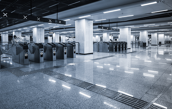 Empty interior subway station Photograph by Jia Yu