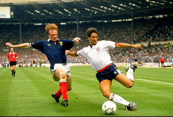 Eng v Scot Gary Lineker and Alex McLeish Photograph by Simon Bruty