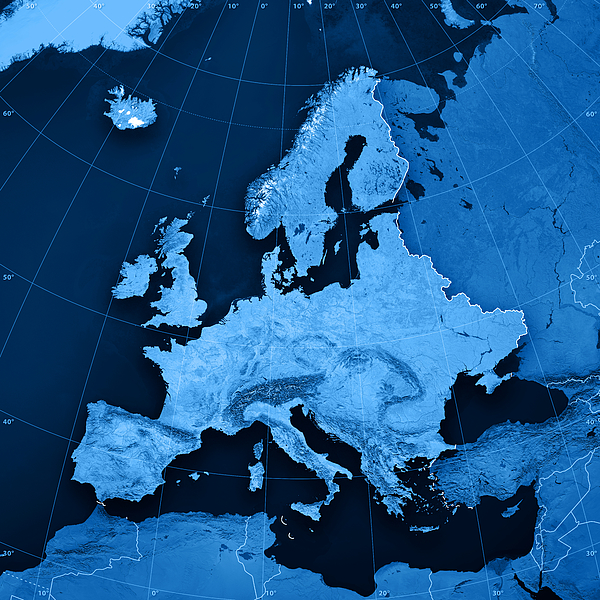 Europe Topographic Map Photograph by FrankRamspott