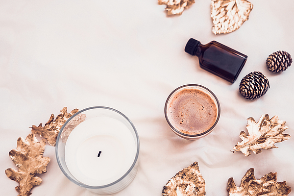 Fall spa beauty products flatlay on white Photograph by JulyProkopiv