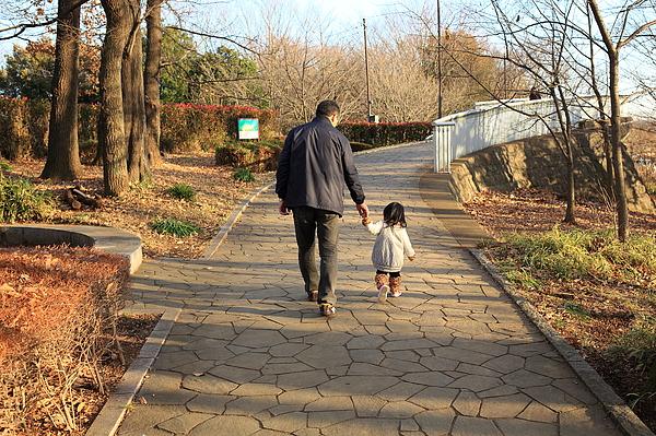 Father and Child walking Photograph by Copyright Crezalyn Nerona Uratsuji