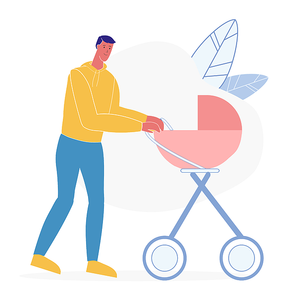 Father with Baby Carriage Flat Vector Illustration Drawing by UnitoneVector