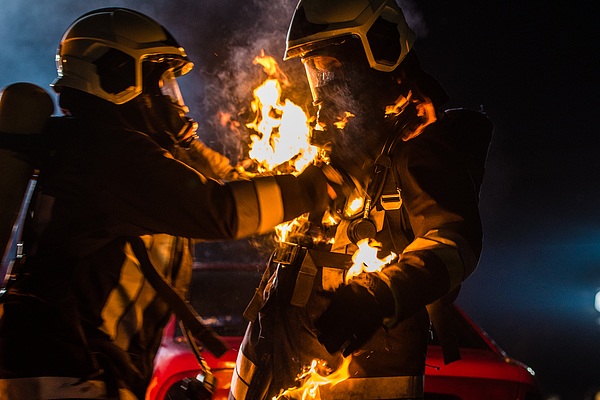 Firefighters With Burning Suit Photograph by Simonkr