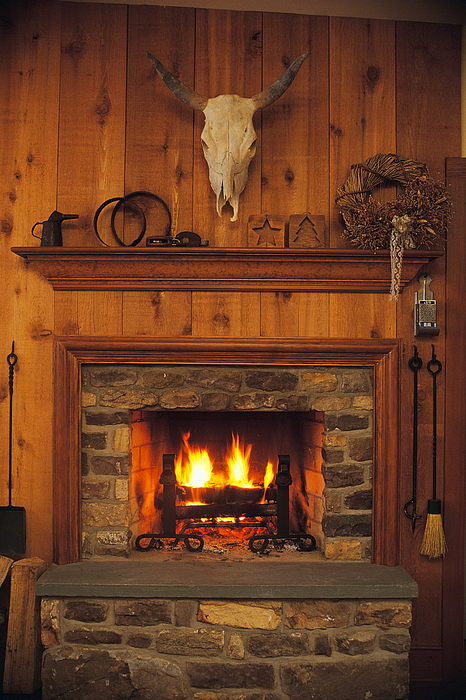 Fireplace And Mantle In Rustic Western Lodge Photograph by Comstock