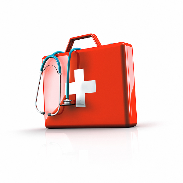 First Aid Kit With Stethoscope Photograph by Artpartner-images
