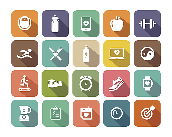 Fitness flat icons set for Web and Mobile Applications Drawing by Enisaksoy