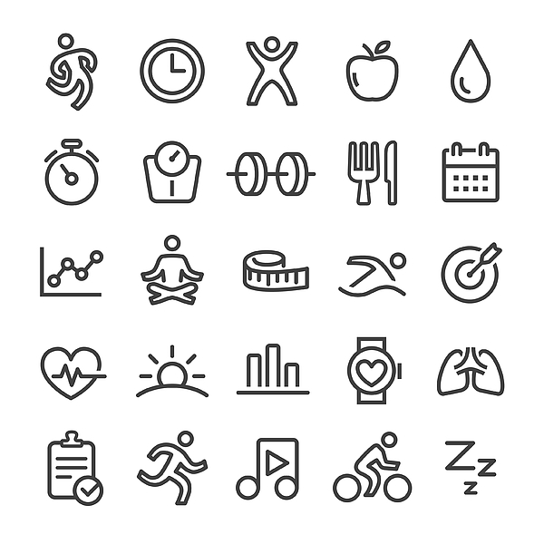 Fitness Icons - Smart Line Series Drawing by -victor-