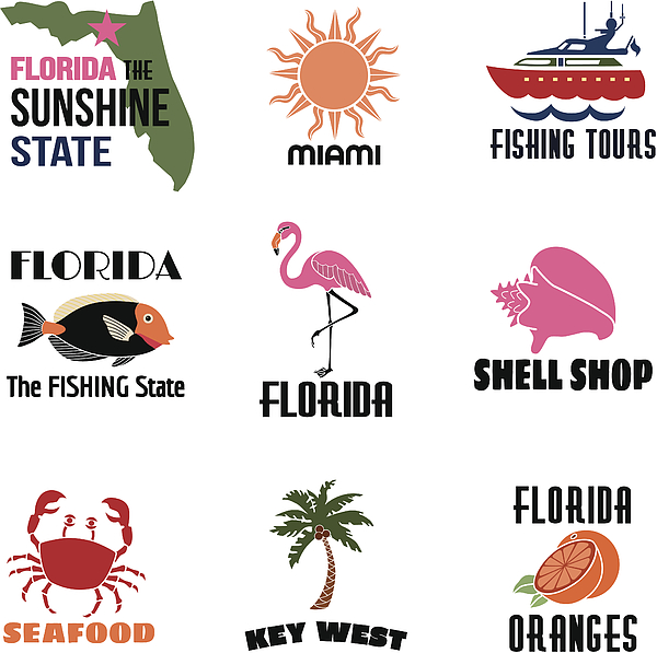 Florida Icons With Text Drawing by Kathykonkle