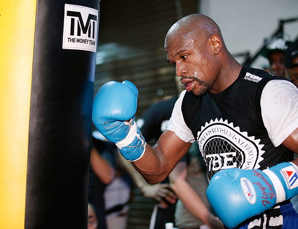 Floyd Mayweather Jr. Media Workout Photograph by Eric Jamison