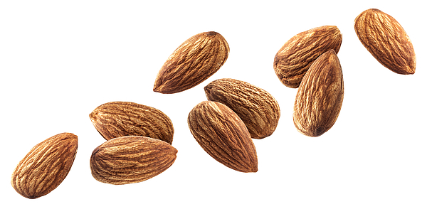 Flying almond isolated on white background with clipping path Photograph by Xamtiw
