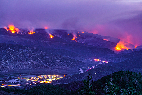 Forest Fire Raging Wildfire at Night Photograph by Adventure_Photo