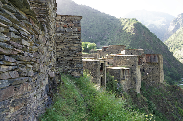 Fortified houses on the cliffs, Shatili, Caucasus Mountains, Georgia Photograph by Vyacheslav Argenberg