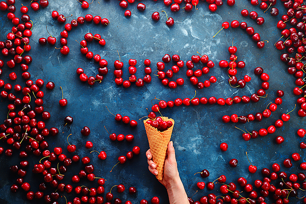 Fresh Cherries In A Waffle Ice Cream Cone Forming A Word Sweet On A Stone Background With Copy Space. Food Typography Or Food Lettering Concept With Ripe Berries Photograph by Dina Belenko Photography