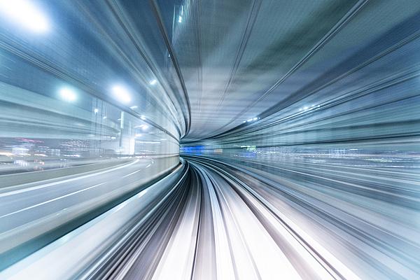 Futuristic POV Image of a High Speed Vehicle Moving Forward Photograph by Yuga Kurita