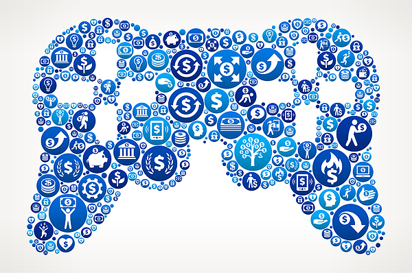 Game Controller  Money Blue Icon Pattern Background Drawing by Bubaone