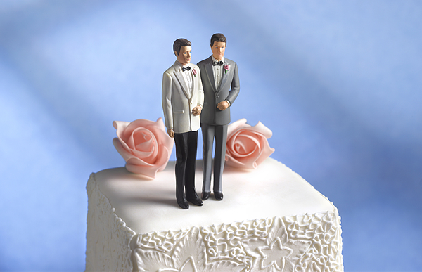 Gay wedding cake figurine Photograph by Peter Dazeley