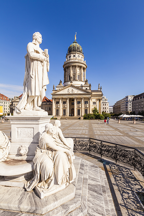 Germany, Berlin, Gendarmenmarkt, view to French Cathedral with statue of Friedrich Schiller in the foreground Photograph by Westend61