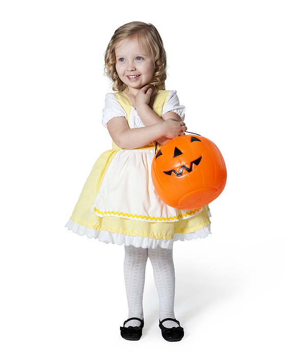 Girl (2-3) In Goldilocks Costume With Pumpkin Lantern For Halloween Photograph by Nicole Hill Gerulat