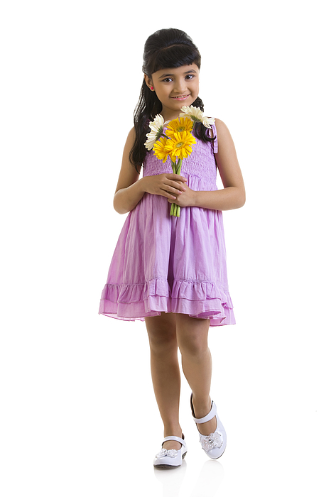 Girl holding flowers Photograph by Madhurima Sil